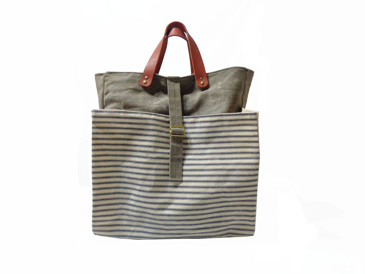 Expandable Pop Market Tote w/ Leather Handles - Blue Stripes and Olive - product images  of