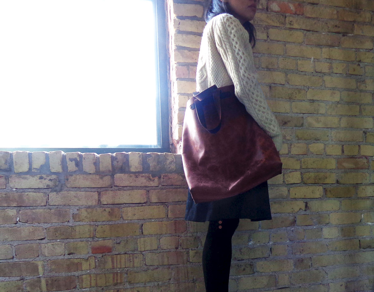 Convertible Bucket Tote, Crossbody Messenger - Bison Leather - product images  of