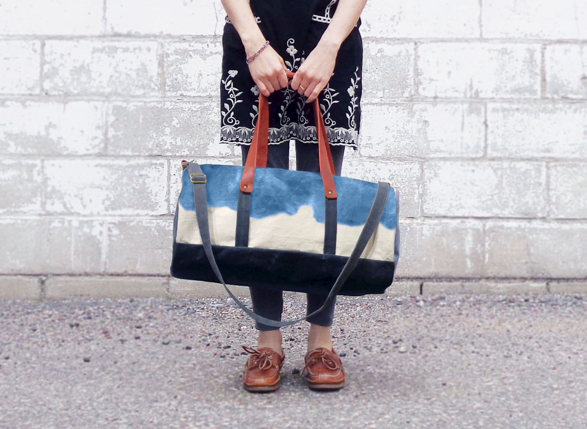 Pop Duffle Tote w/ Leather Straps - Indigo - product images  of
