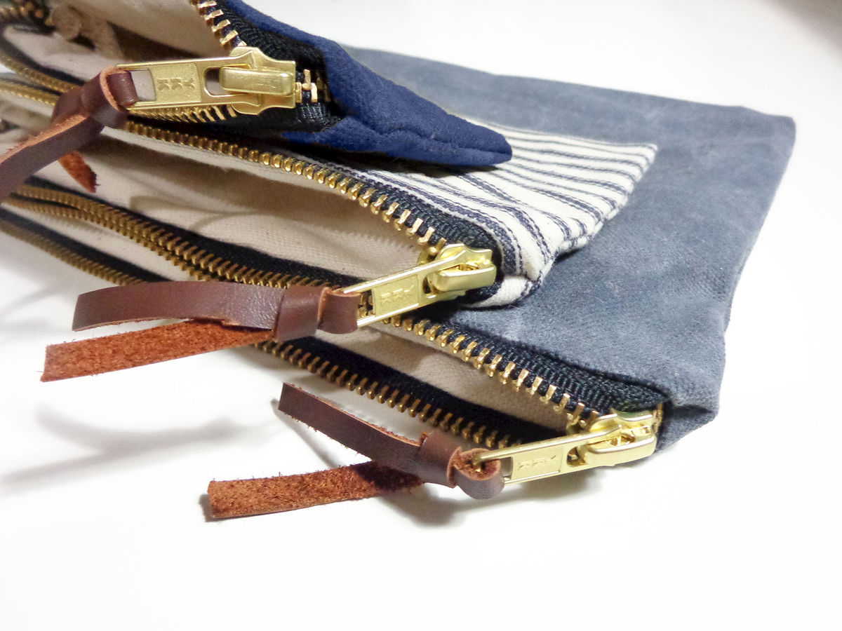 Waxed Canvas Pouch Set of Three - Charcoal, Stripes, Navy - product images  of
