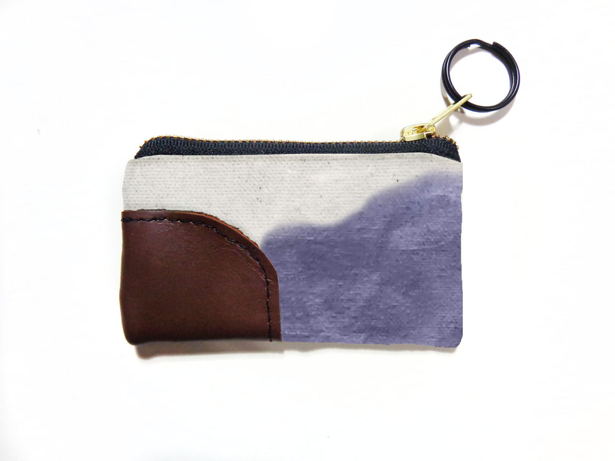 Waxed Canvas Zip Wallet Keyring - Storm - product images  of