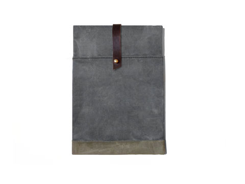 Sessa,Carlo,iPad,Case,-,Charcoal,Bags_And_Purses,Laptop, waxed, canvas, ipad, case, leather, olive,brown,sessa_carlo,custom_waxed,waxed_canvas, charcoal, gray