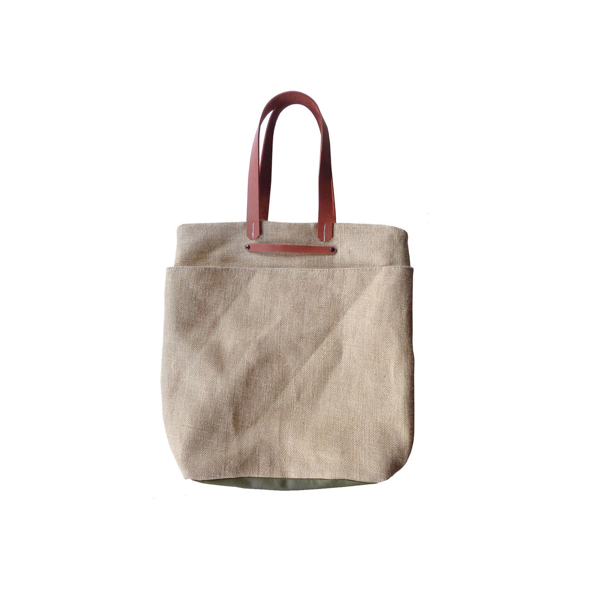 cf01fce53802 ... Everything Shopper Tote w  Leather Handles - Jute and Olive - product  images of ...