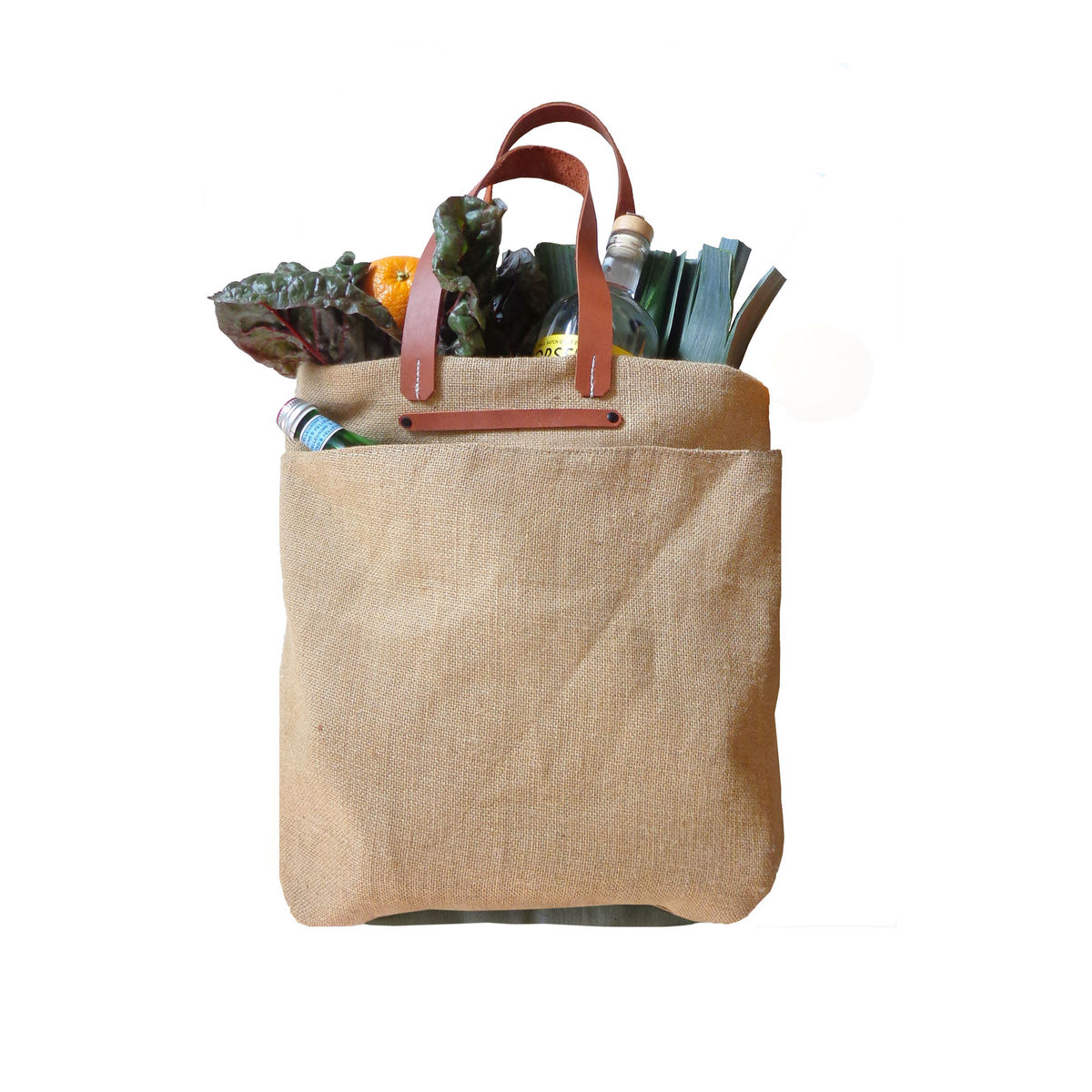 3cadf7086c42 Everything Shopper Tote w  Leather Handles - Jute and Olive ...