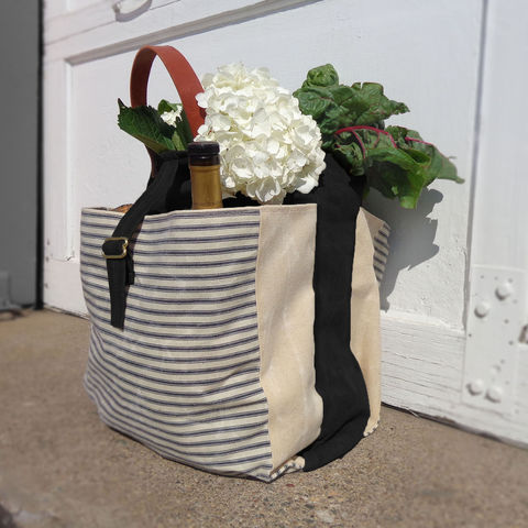 Expandable,Pop,Market,Tote,,Waxed,Canvas,w/,Leather,Handles,-,Stripes,,Black,market,shopper,tote, bag, waxed_canvas, waxed, canvas,ticking,mclovebuddy,leather, military, utilitarian, brass, blue, natual, black