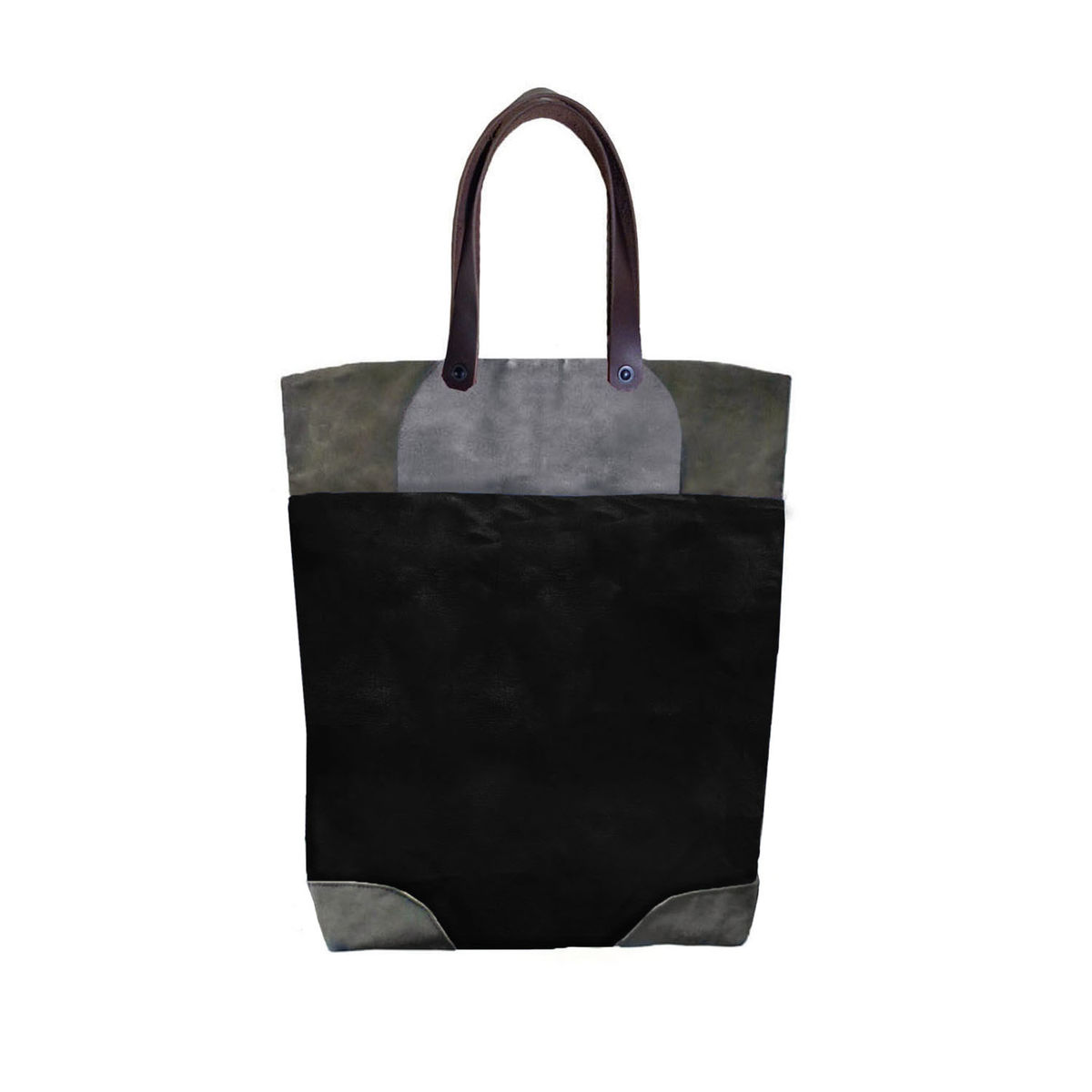 Pop Tote in Waxed Canvas, Leather Straps - Infantry - product images  of