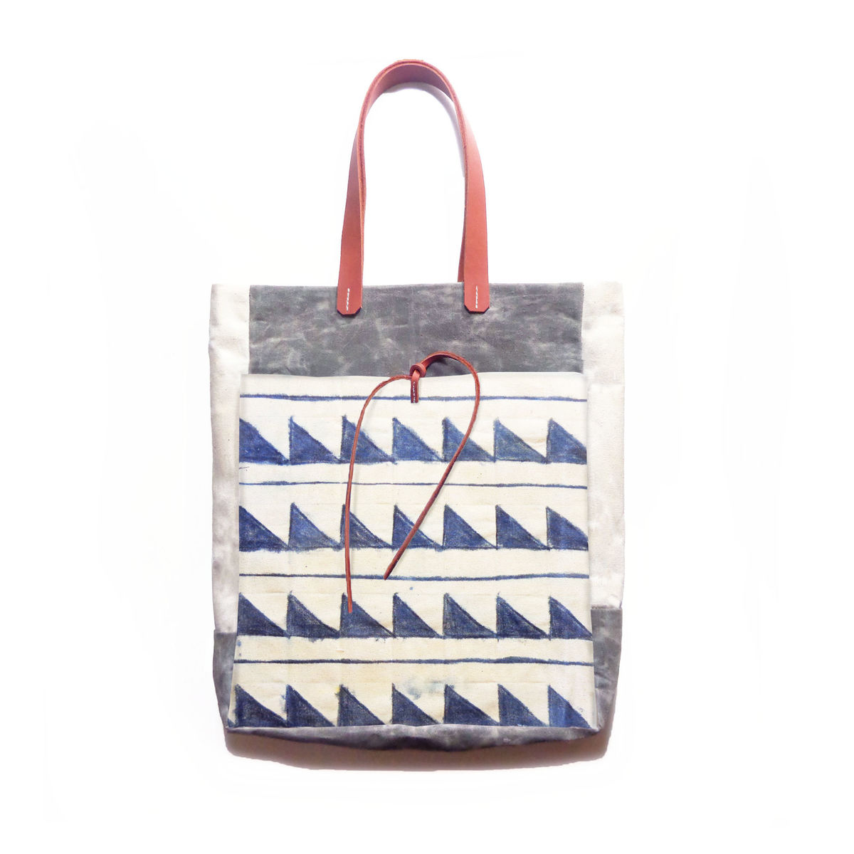 Market Tote w/ Leather Handles - Indigo Zag no Zig - product images  of