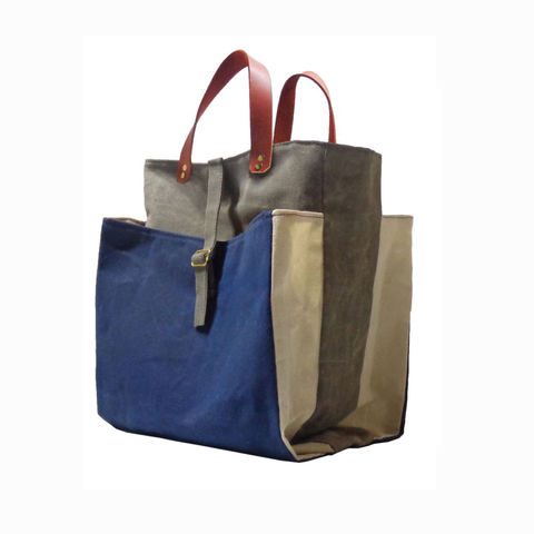 Expandable,Pop,Market,Tote,w/,Leather,Handles,,Waxed,Canvas,-,Navy,,Olive,market,shopper,tote, bag, waxed_canvas, waxed, canvas,ticking,mclovebuddy,leather, military, utilitarian, brass, natural, navy, blue, olive