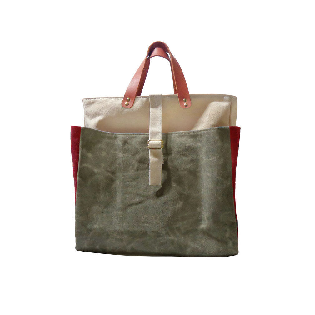 Expandable Pop Market Tote Waxed Canvas w/ Leather Handles - Safari - product images  of
