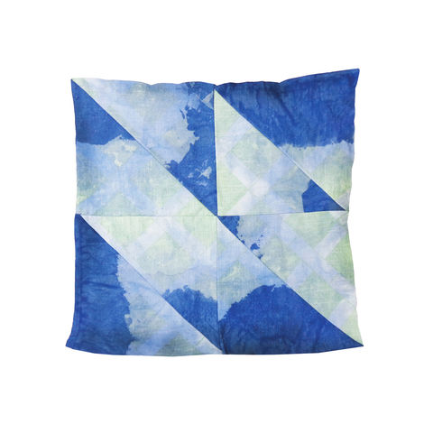 Quilt,Throw,Pillow,,Shibori,Indigo,Waxed,Canvas,throw, pillow, quilt, Shibori, Indigo, waxed, canvas, velveteen, chartreuse, green, white