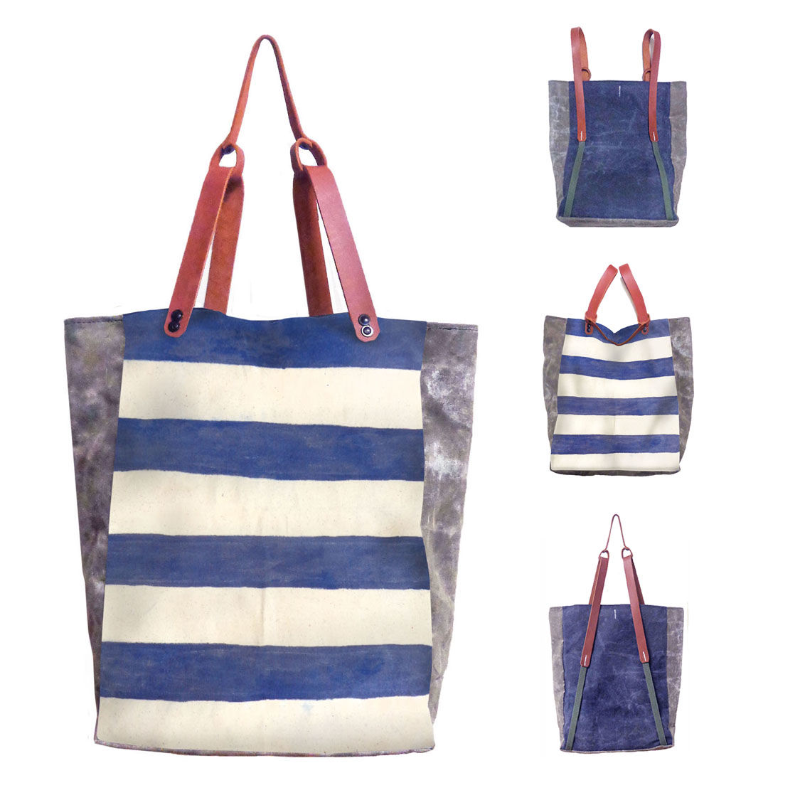 Convertible Bodega Tote, Backpack - Indigo Stripe - product images  of