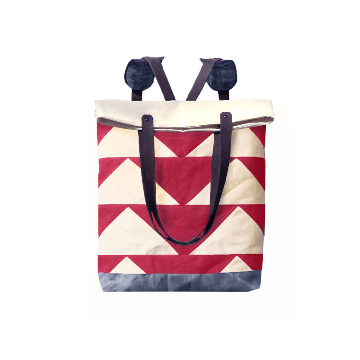 Convertible Tote, Backpack w/ Leather Straps - Bunting Triangle Red - product images  of
