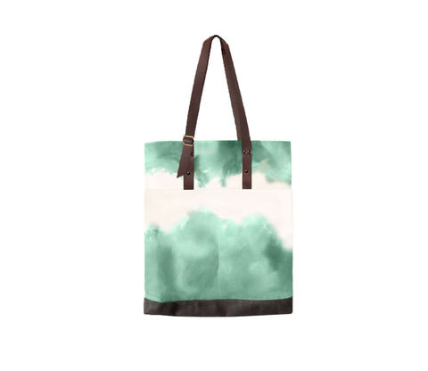 Quarters,Pocket,Tote,,Hand,Dyed,Jade,,Waxed,Canvas,and,Leather,Tote,bag,adjustable,strap,waxed,canvas,leather,water,stain,repellent,jade,green