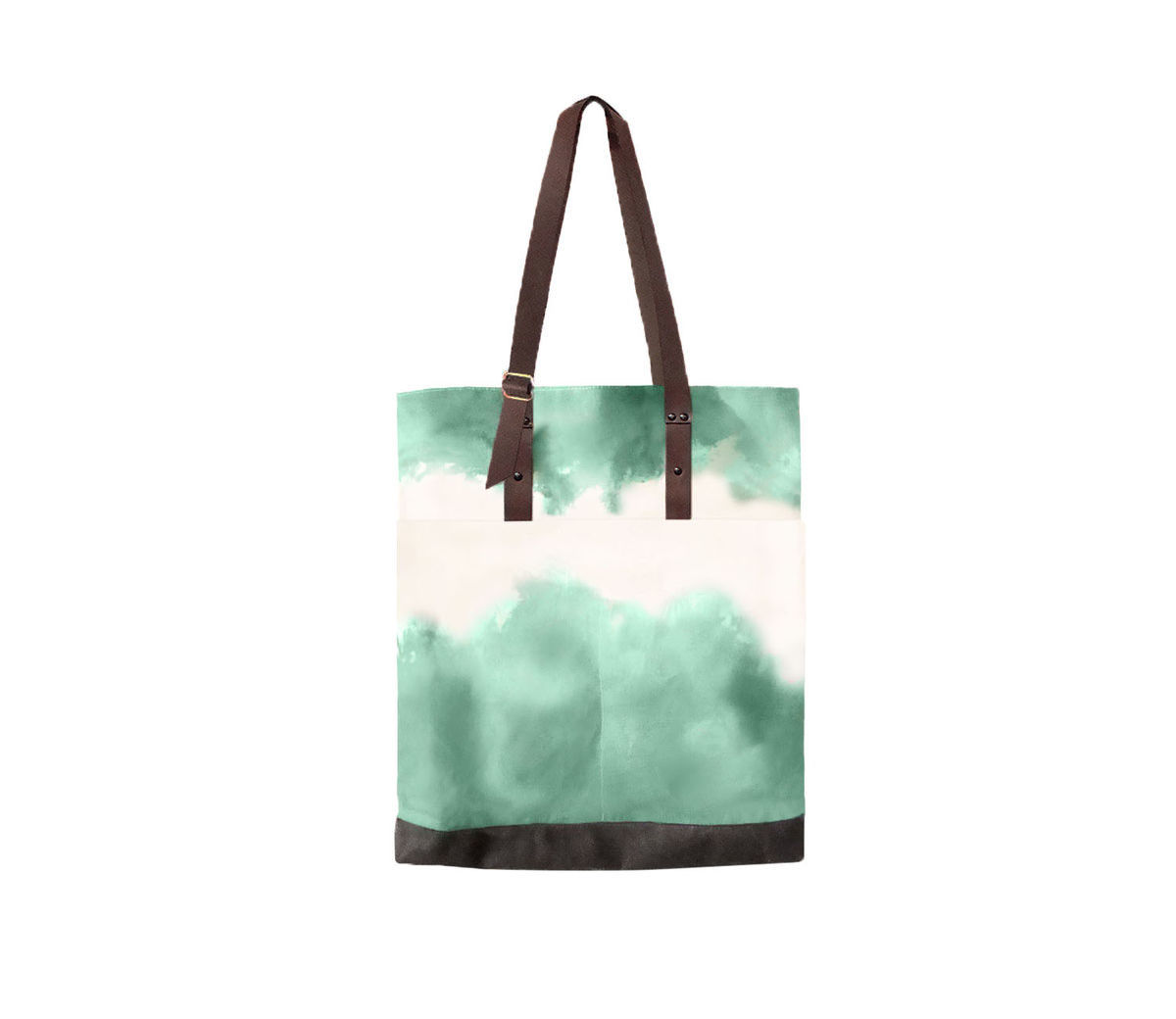 Quarters Pocket Tote, Hand Dyed Jade, Waxed Canvas and Leather - product images  of