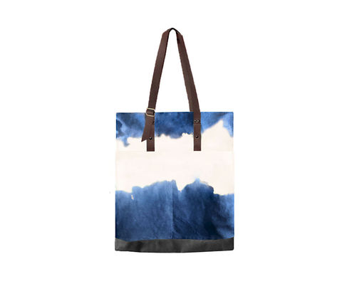 Quarters,Pocket,Tote,,Hand,Dyed,Indigo,,Waxed,Canvas,and,Leather,waxed, canvas, Tote,bag,leather,water,stain,repellent,indigo,blue