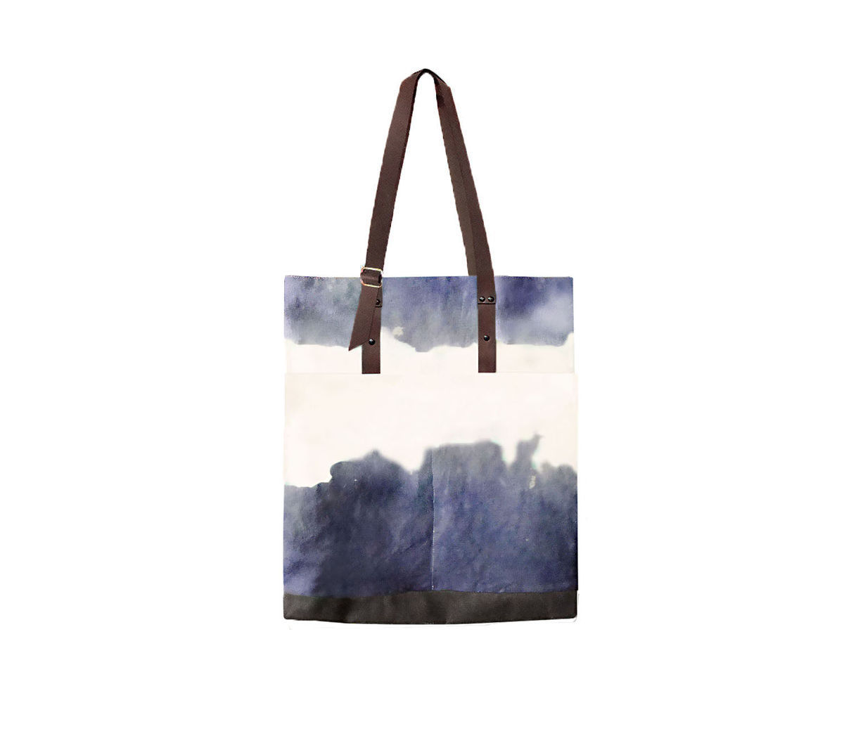 Quarters Pocket Tote, Hand Dyed Storm, Waxed Canvas and Leather - product images  of