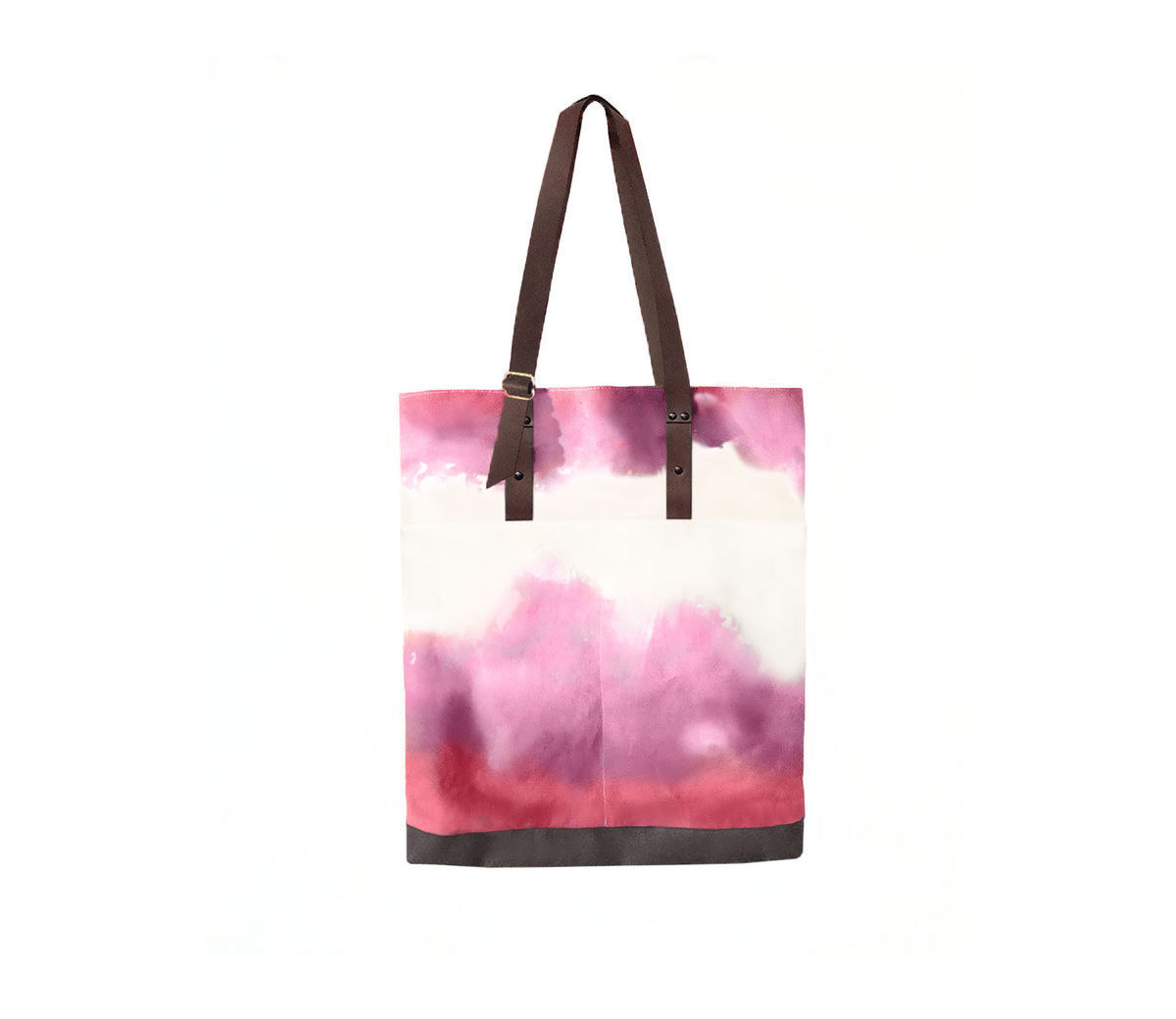Quarters Pocket Tote, Hand Dyed Fuscia, Waxed Canvas and Leather - product images  of
