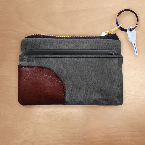 Zipper,iPhone,,PDA,,Wallet,Keyring,Organizer,-,Waxed,Canvas,Charcoal,keyring, wallet, pouch, waxed canvas, leather, brass, brown, charcoal