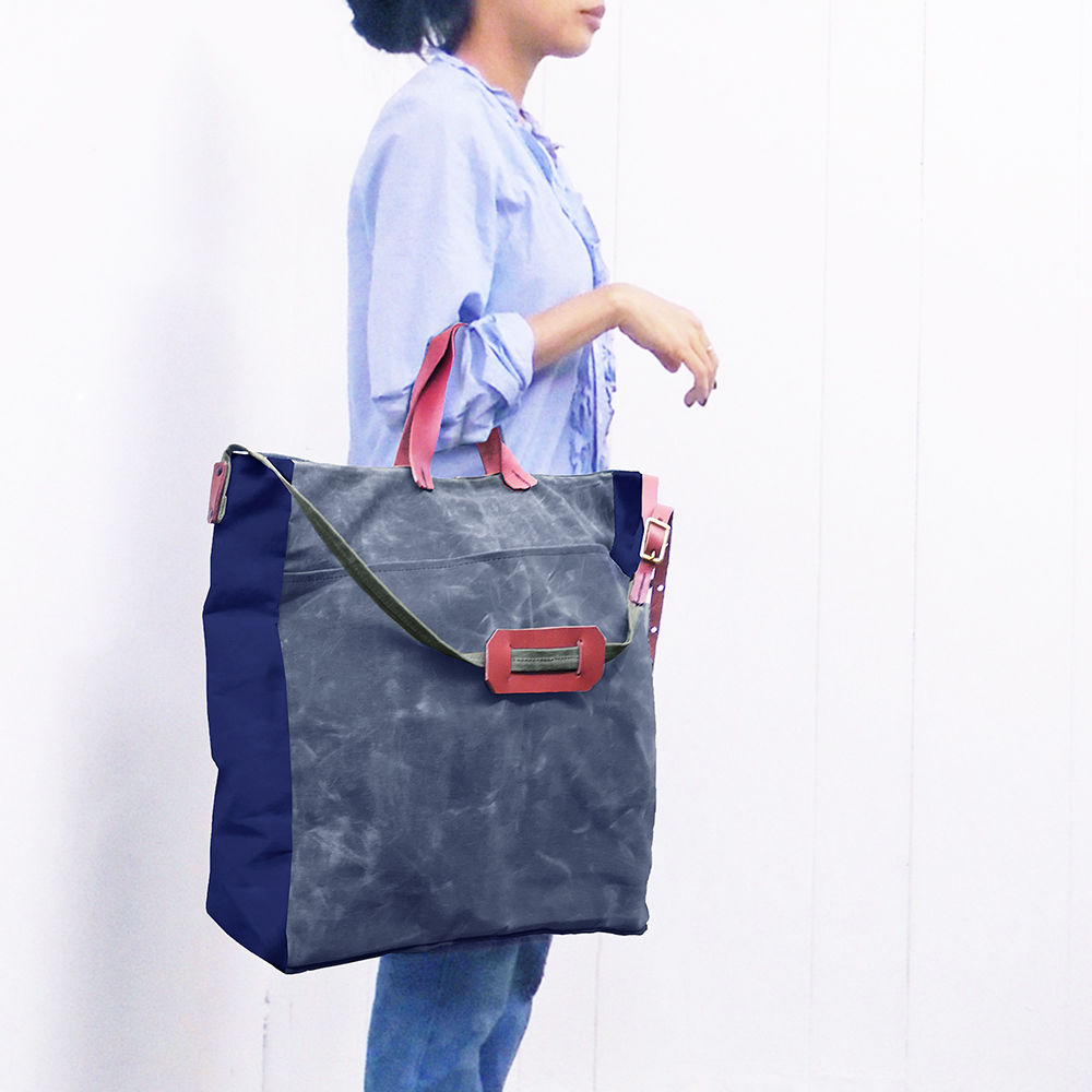 Convertible Bucket Tote, Crossbody Messenger - Navy, Charcoal - product images  of