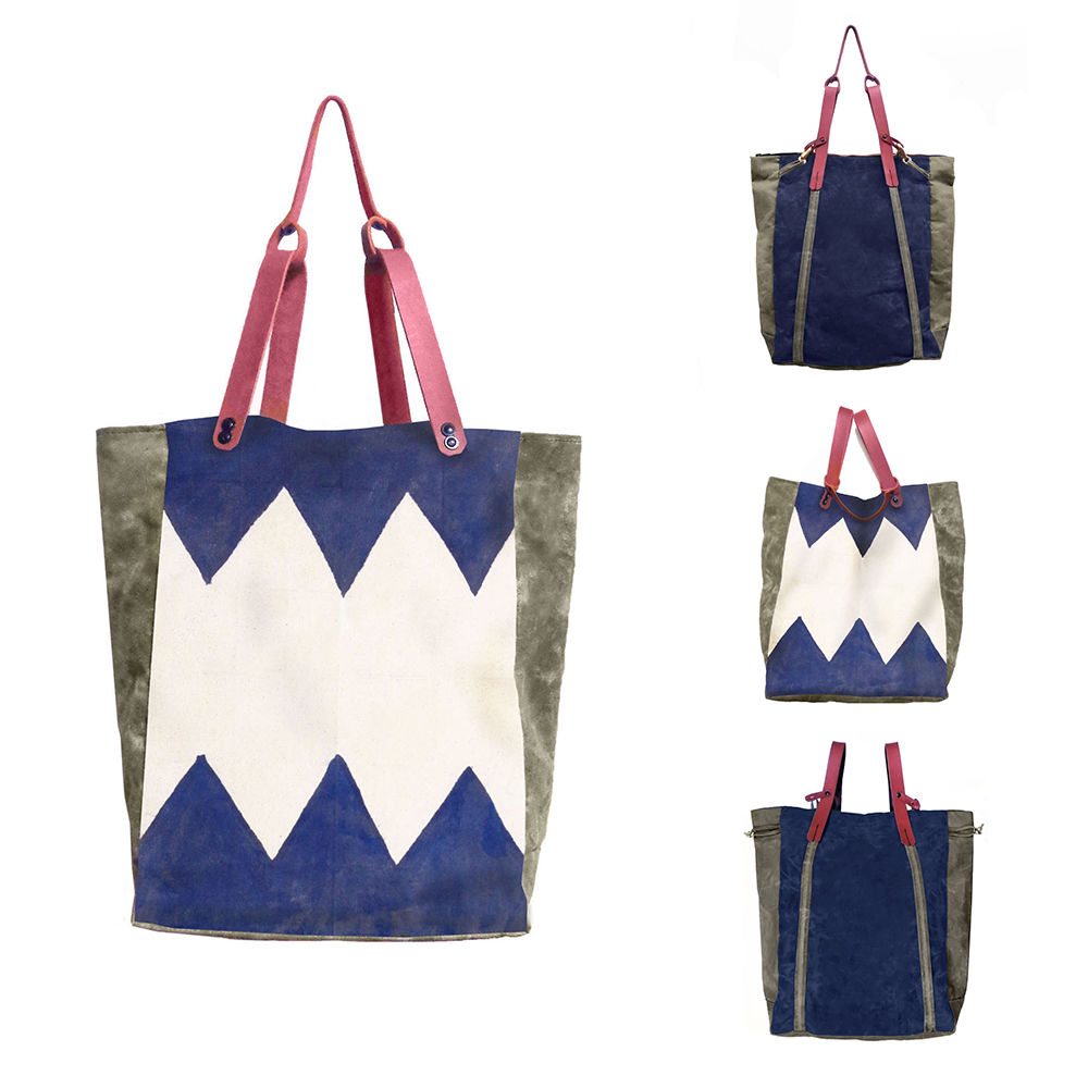 Convertible Bodega Tote, Backpack - Indigo Zig Zag - product images  of