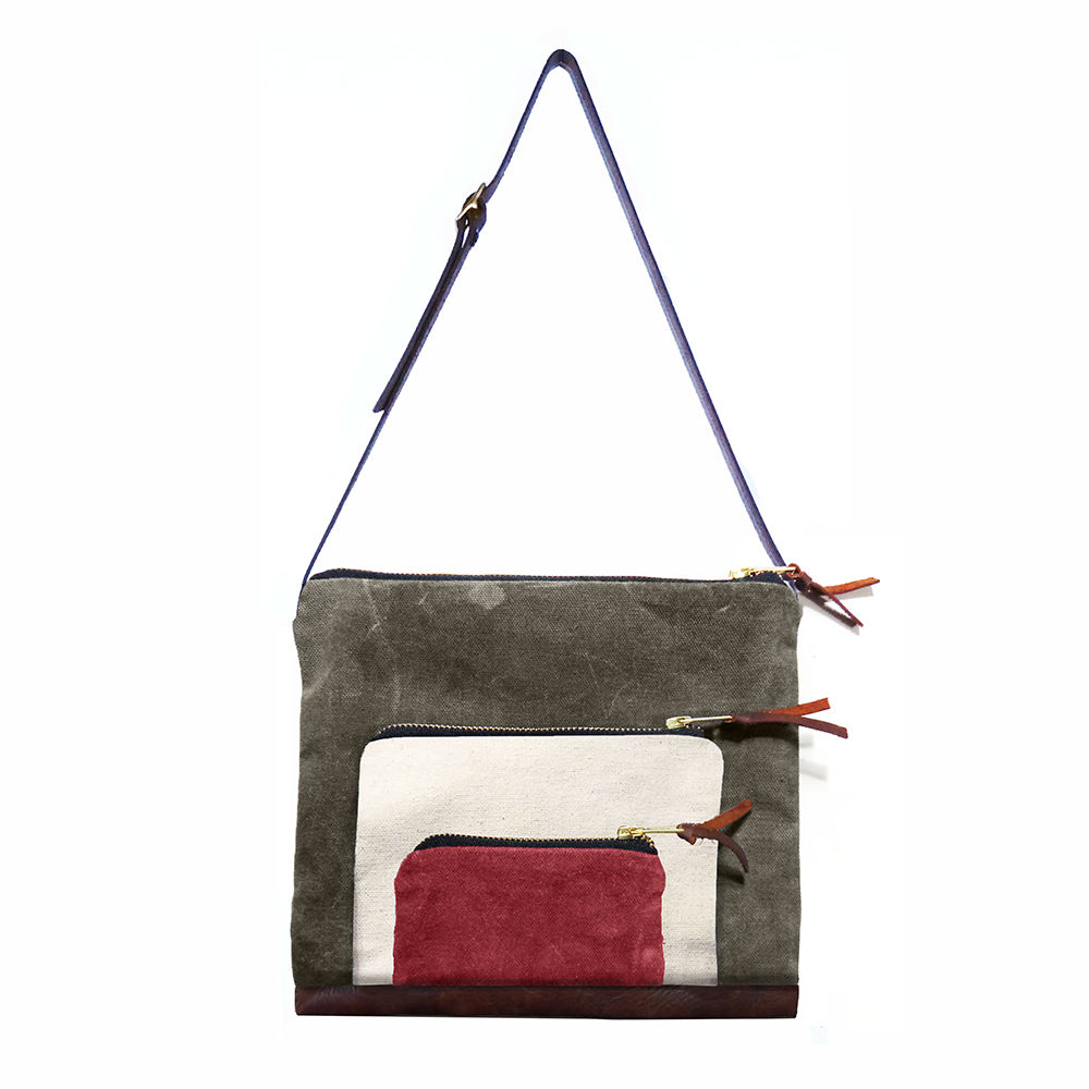 Waxed Canvas Stacked Satchel, Adjustable Leather Straps - Safari - product image