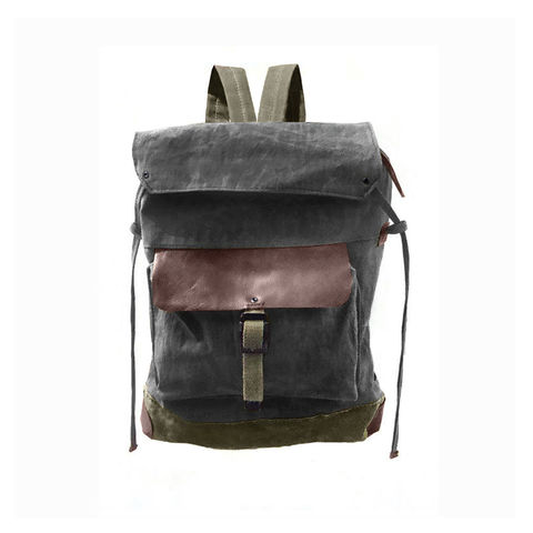 Sessa,Carlo,Waxed,Canvas,Backpack,and,Leather,,Charcoal,waxed, canvas, backpack, rucksack, mclovebuddy, sessa_carlo, leather, military, utilitarian, brass, brown, charcoal