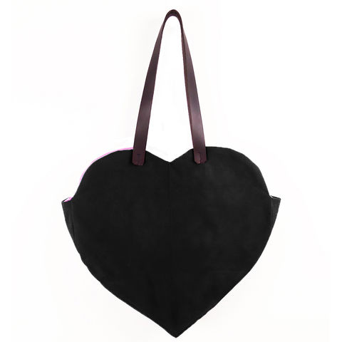 Waxed,Canvas,Heart,Tote,-,Black,waxed_canvas,tote,leather,heart,valentines,candy_hearts,red