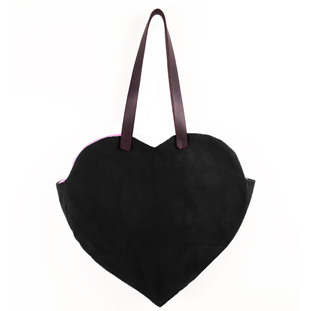 Waxed Canvas Heart Tote  - Black - product images  of