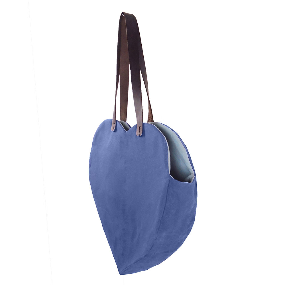 Waxed Canvas Heart Tote  - Blue - product images  of