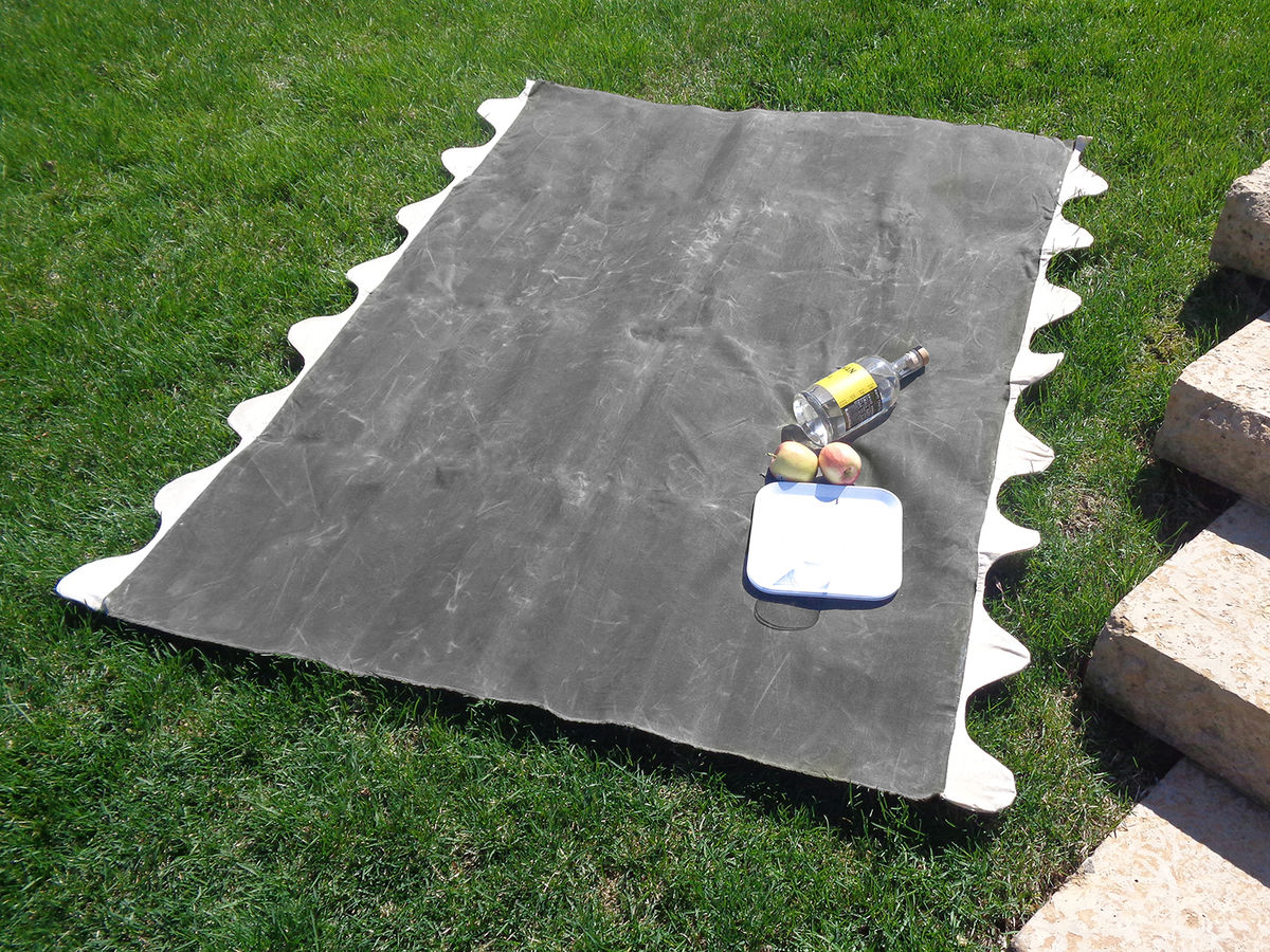 Wave Picnic and Beach Blanket, Charcoal Waxed Canvas - product images  of