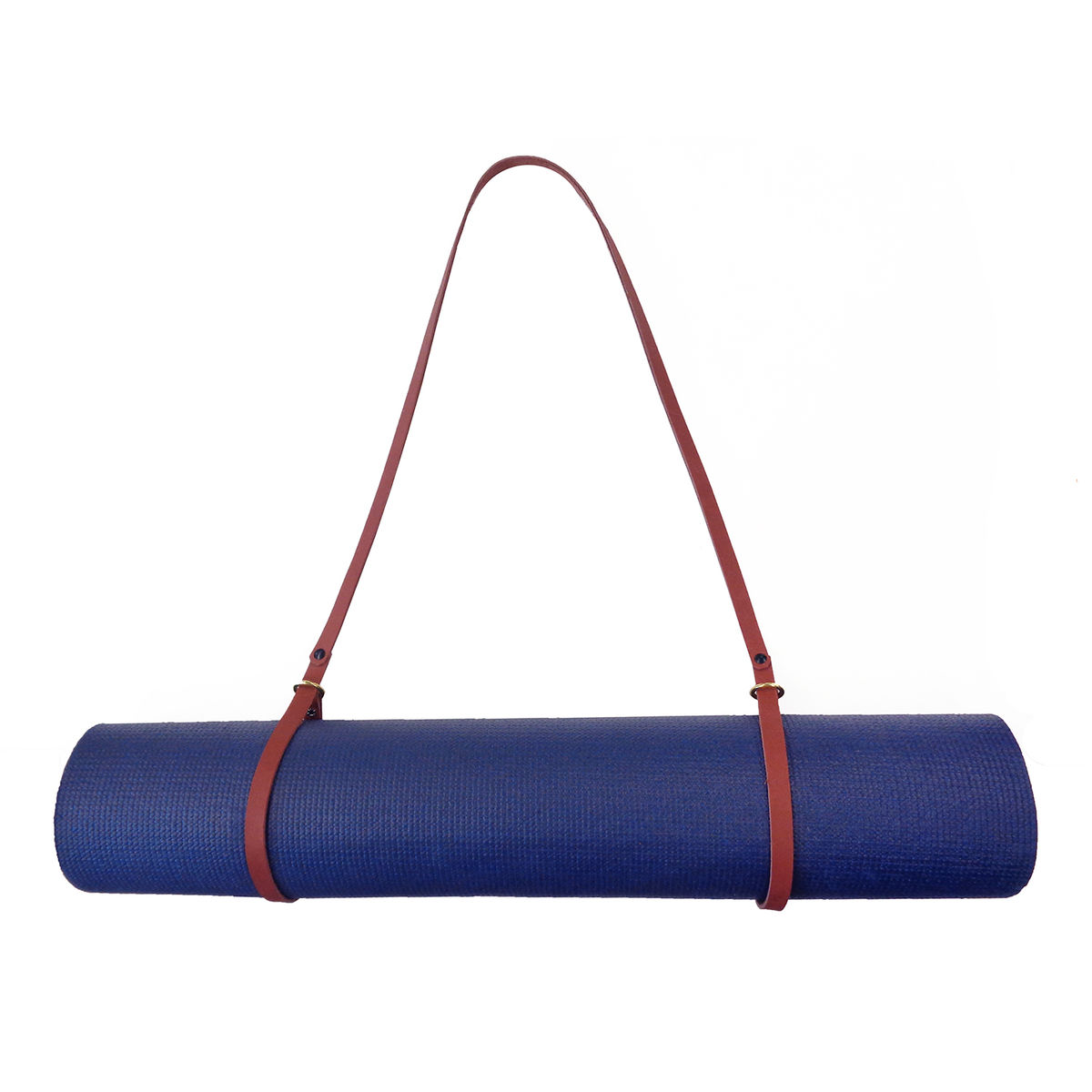 Leather Yoga Mat Strap and Blanket Strap with Brass Ring and Gunmetal Rivets - product images  of