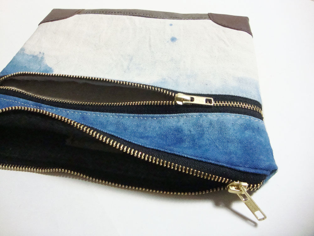 Everything iPad Case, Waxed Canvas, Leather, Custom Dyed Shibori Indigo - product images  of
