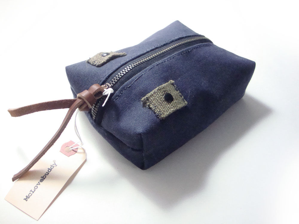 Center Zip Waxed Canvas Pouch - Navy - product image