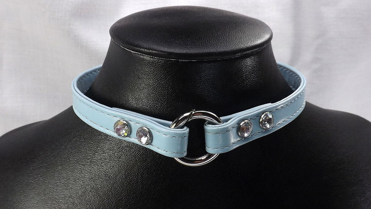 O ring slave collar Rhinestone bdsm day collar restraints mature bdsm gift leather choker - product images  of