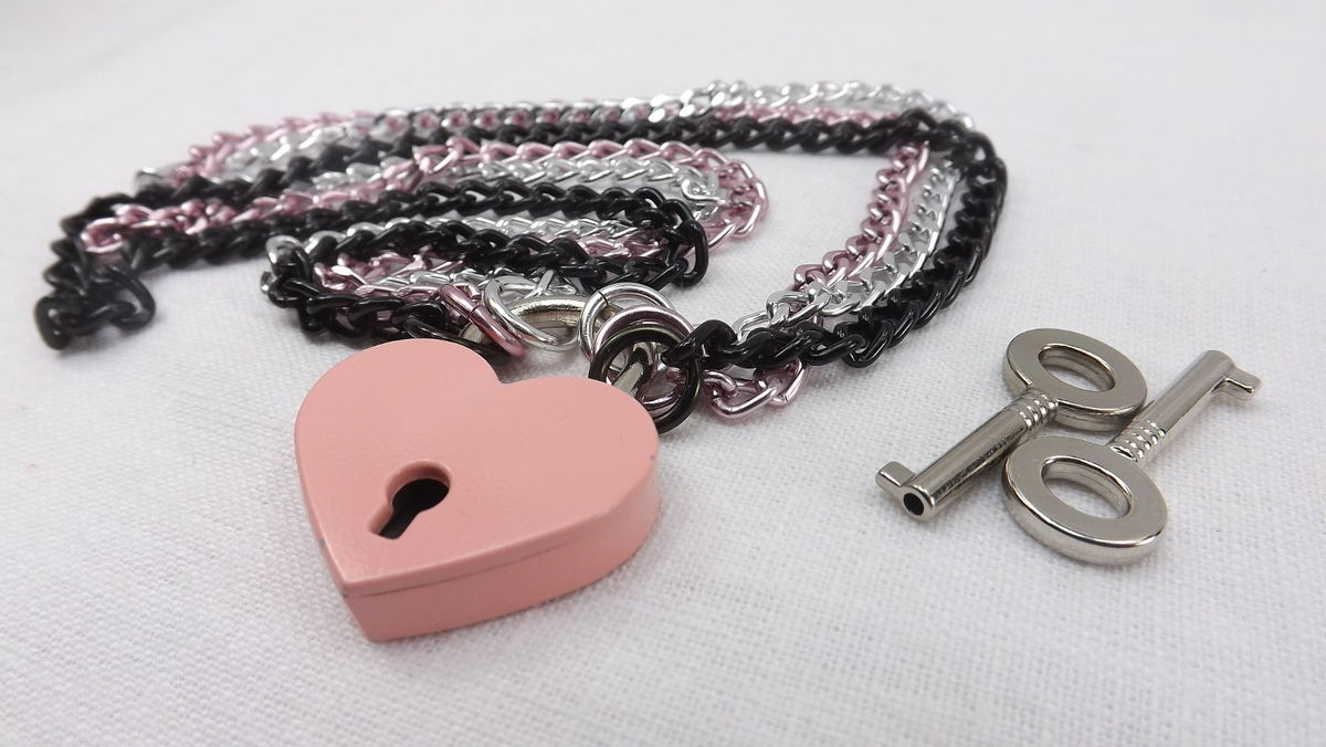 Locking necklace pink heart lock day collar discreet babygirl bdsm ddlg bdsm jewelry submissive jewelry bdsm gift - product images  of