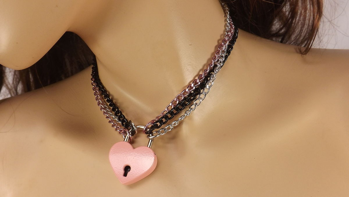 Locking necklace pink heart lock day collar discreet babygirl bdsm ddlg bdsm jewelry submissive jewelry bdsm gift - product image