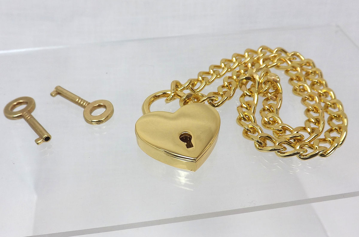 bdsm necklace Gold Heart Lock choker slave necklace heart collar choker - product images  of