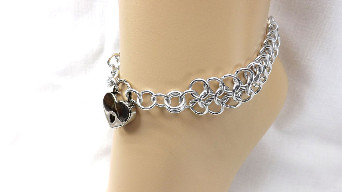 Locking Anklet Silver Heart Lock Ankle Bracelet bdsm jewelry bdsm anklet gift for her - product image