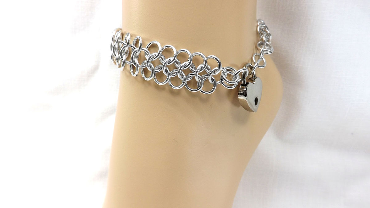 Locking Anklet Silver Heart Lock Ankle Bracelet bdsm jewelry bdsm anklet gift for her - product images  of
