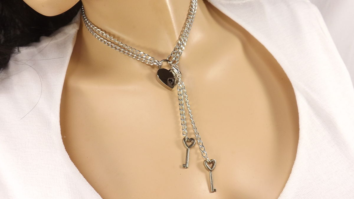 Locking Jewelry Bdsm Necklace multi strand necklace submissive necklace Double chains with working heart lock and keys - product image