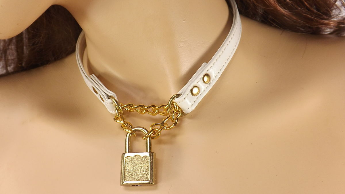 Day Collar Locking O ring collar Submissive Collar Gold color lock Bdsm locking day collar - product images  of