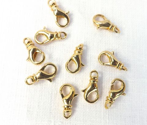 Small,Swivel,Clasp,10,pieces,Lobster,claw,clasps,12x7mm,bracelet,making,supply, small swivel clasp, gold lobster claw clasp, bracelet making supply, rotating clasp, 12mm clasp