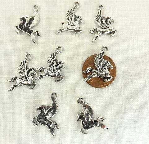 Winged,Horse,Pegasus,Charm,silver,color,mythical,creatures,supply, winged horse charm, silver pegasus charm, mythical creatures supply, pegasus pendant