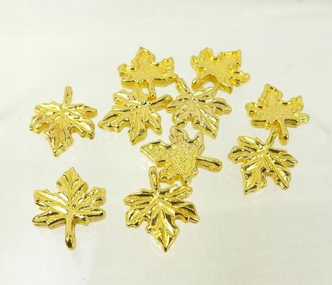 Gold,maple,leaf,charms,nature,themed,jewelry,supply,13mm,Supply, nature charms, leaf charms, gold maple leaf, jewelry making supply