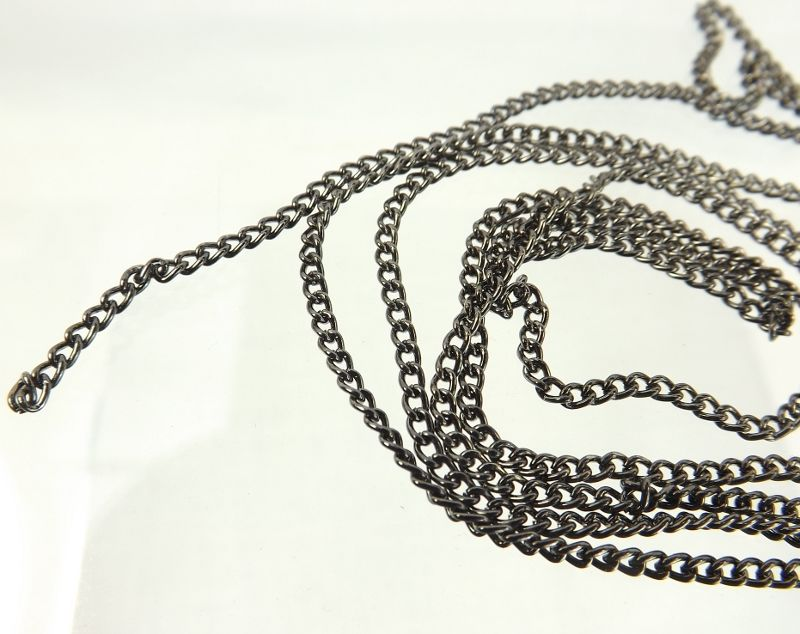 Gunmetal Bulk Chain 2mm steel curb chain unfinished chain bulk jewelry making neckalce supply - product images  of