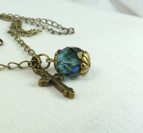 Cross,and,Crystal,Bead,Necklace,24,Chain,Dark,Teal,Gift,for,her,charm,necklace,Jewelry,gold_necklace,dark_gold_necklace,cross_necklace,cross_jewelry,crystal_and_cross,24_inch_necklace,bead_necklace,long_dark_necklace,womens_long_necklace,womens_jewelry,gothic_jewelry,gamersandgoths,gift_for_her