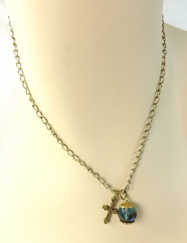 "Cross and Crystal Bead Necklace 24"" Chain Dark Teal Bead Gift for her charm necklace - product images  of"
