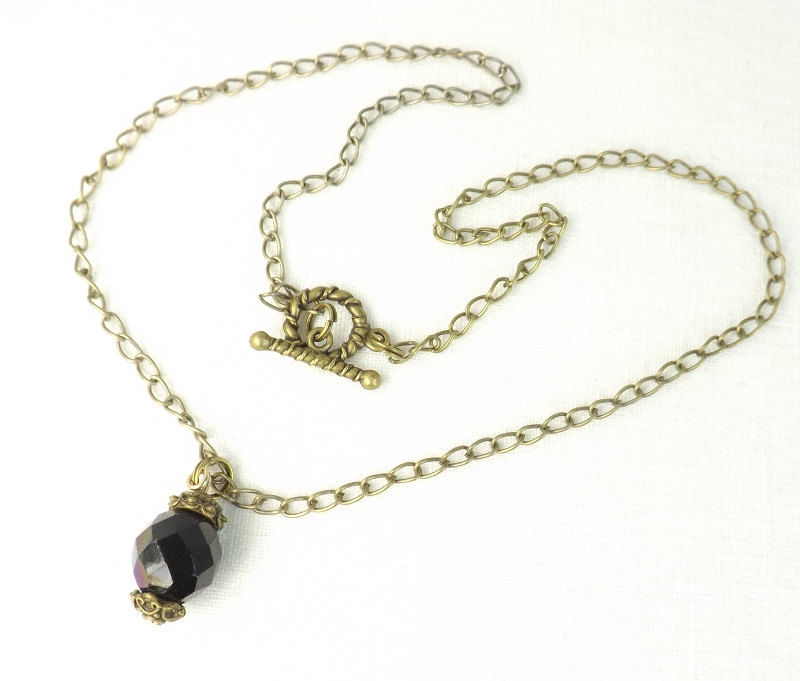 Black Crystal Bead Pendant on 18 inch Gothic jewelry gift for her  - product images  of