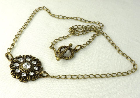 Necklace,Rhinestone,Medallion,womens,jewelry,charm,necklace,Jewelry,16_inch_necklace,dark_gold_jewelry,dark_gold_necklace,medallion_necklace,medallion_focal,rhinestone_necklace,antiqued_necklace,pendant_necklace,womens_jewelry