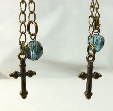 Gothic,Cross,Crystal,Earrings,Long,Dangle,Chain,Womens,Jewelry,gothic_cross_jewelry,gold_cross_crystal,teal_crystal_jewelry,brass_earrings,long_chain_earrings,long_charm_earrings,cross_and_crystal,gothic_cross_earring,antiqued_cross,cross_jewelrey,womens_cross,small_gothic_cross